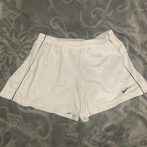 White Nike Drive Fit Soccer Shorts
